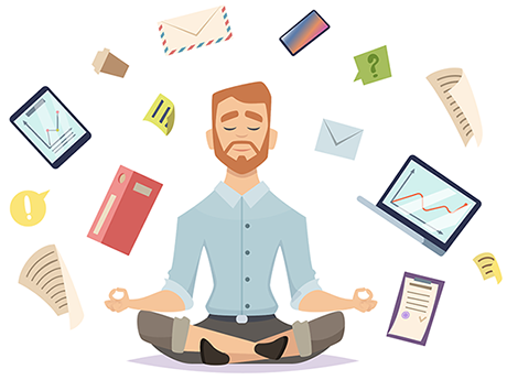 Person meditating in control of their finances